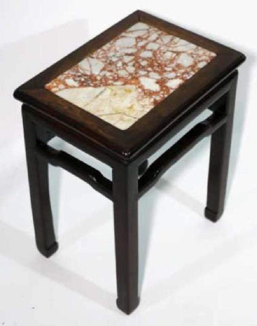 CHINESE ANTIQUE INSET MARBLE SIDE TABLE - 2