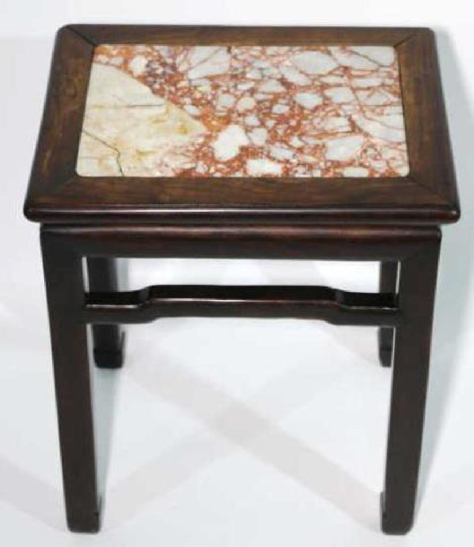 CHINESE ANTIQUE INSET MARBLE SIDE TABLE - 3