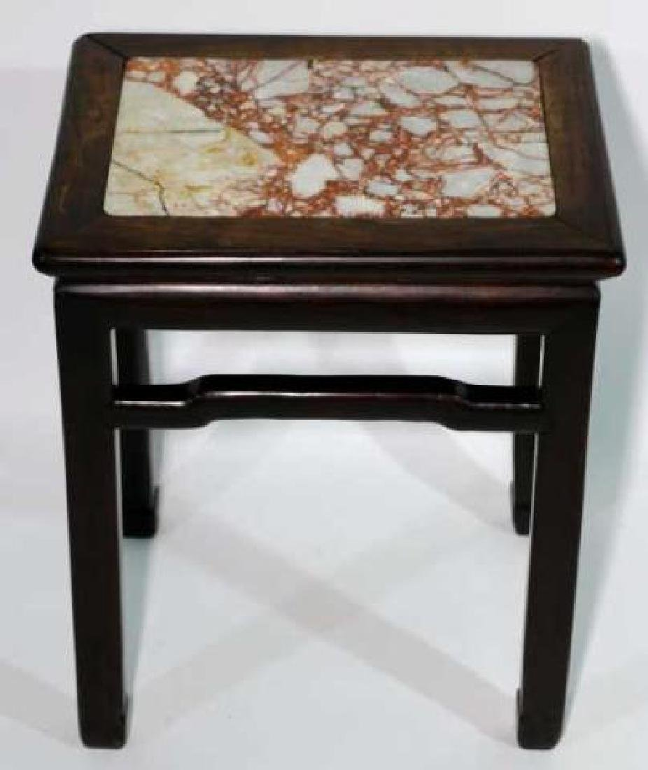 CHINESE ANTIQUE INSET MARBLE SIDE TABLE - 4