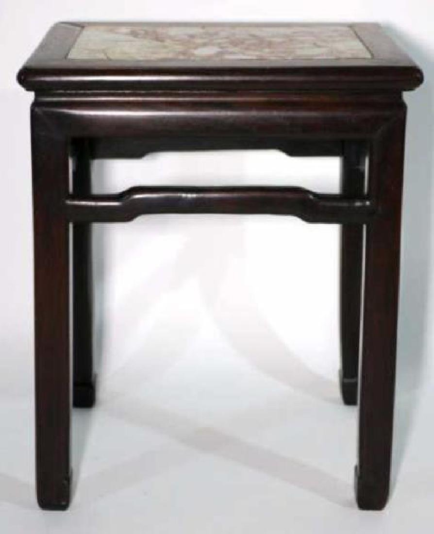 CHINESE ANTIQUE INSET MARBLE SIDE TABLE - 5