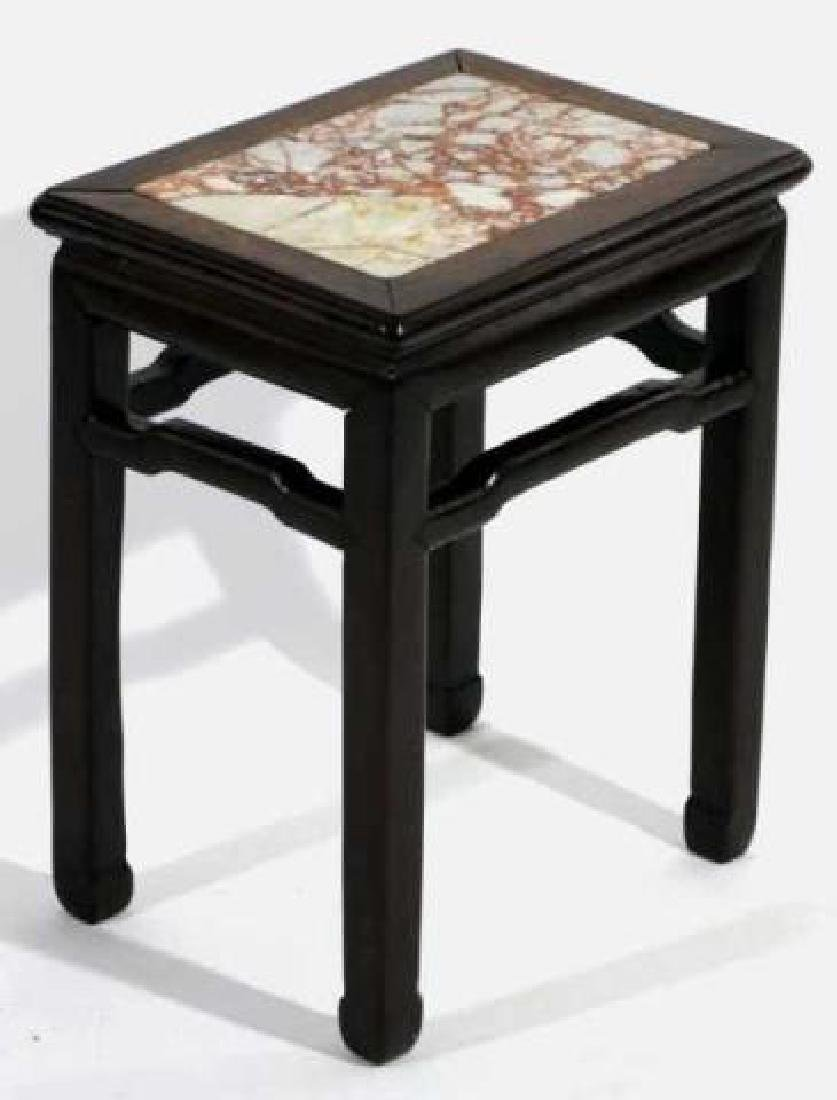 CHINESE ANTIQUE INSET MARBLE SIDE TABLE - 6