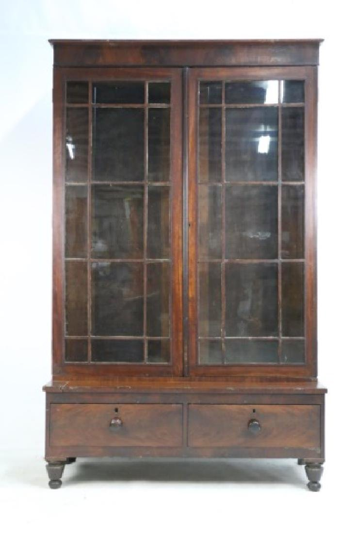 AMERICAN ANTIQUE MAHOGANY TALL STEP BACK  BOOKCASE