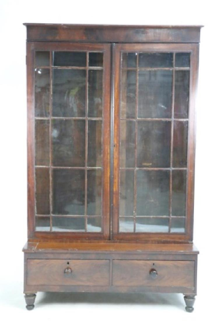 AMERICAN ANTIQUE MAHOGANY TALL STEP BACK  BOOKCASE - 2