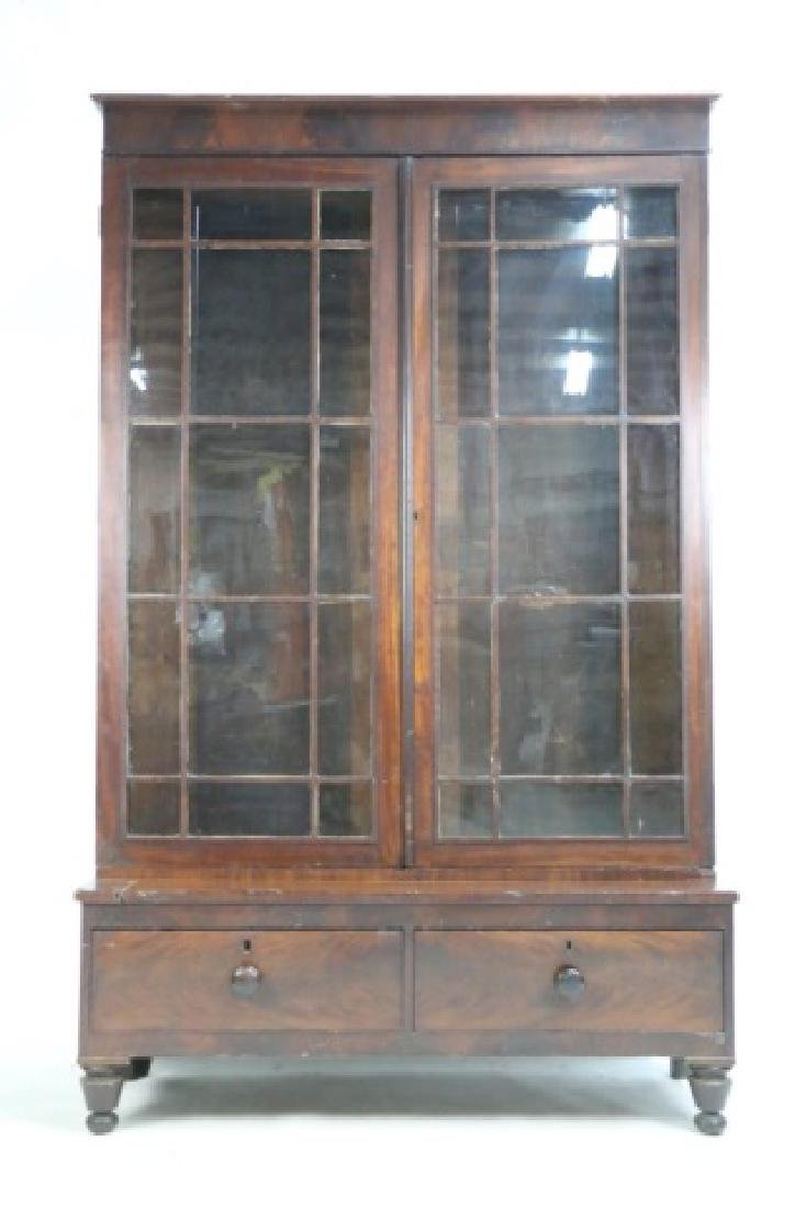AMERICAN ANTIQUE MAHOGANY TALL STEP BACK  BOOKCASE - 3