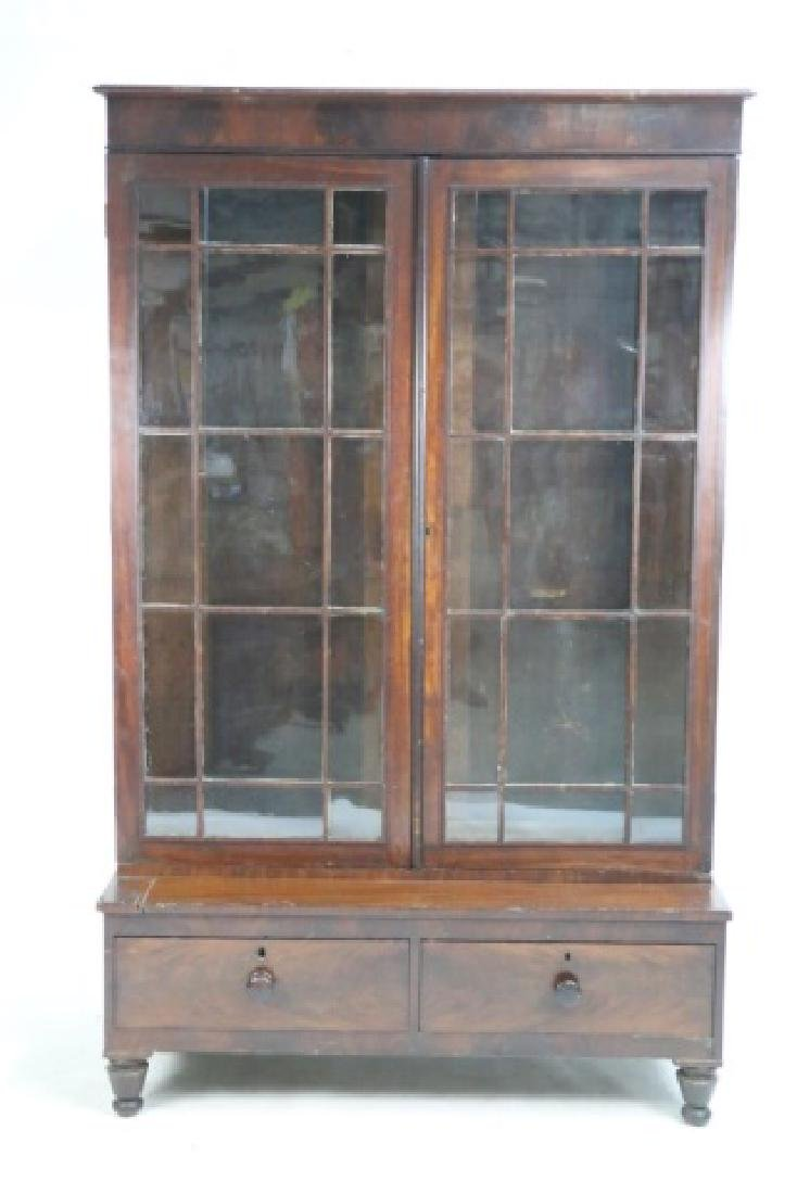 AMERICAN ANTIQUE MAHOGANY TALL STEP BACK  BOOKCASE - 4