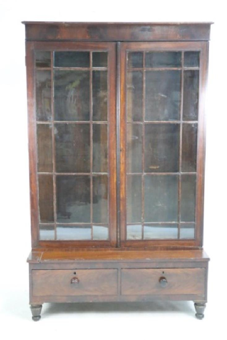 AMERICAN ANTIQUE MAHOGANY TALL STEP BACK  BOOKCASE - 8