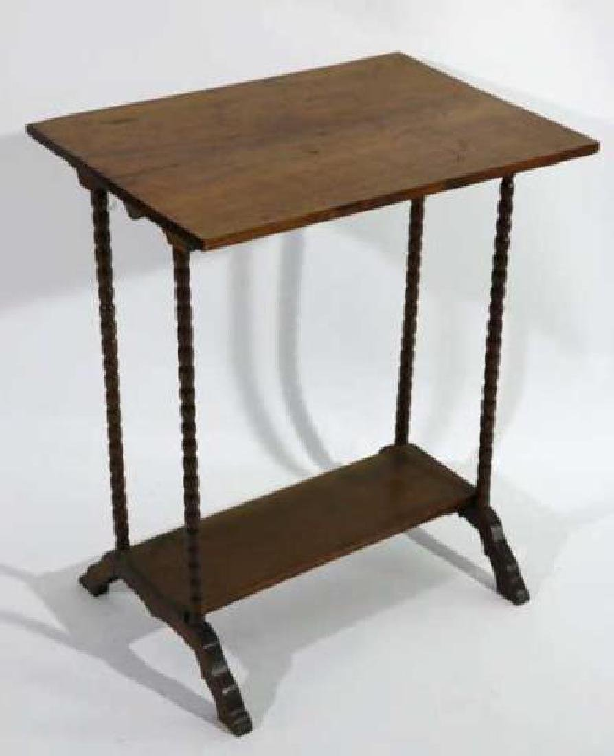 AMERICAN ANTIQUE WALNUT SPINDLE LEG TWO TIER TABLE