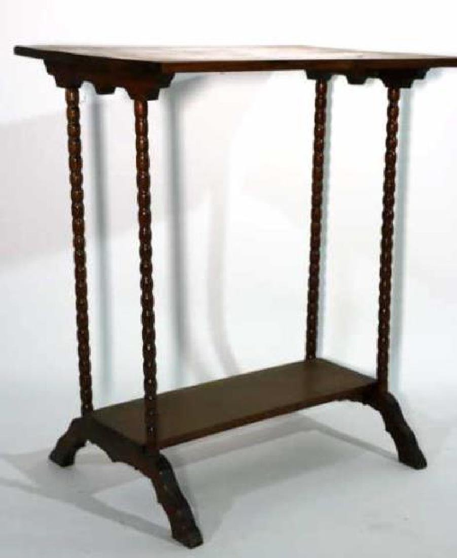 AMERICAN ANTIQUE WALNUT SPINDLE LEG TWO TIER TABLE - 2
