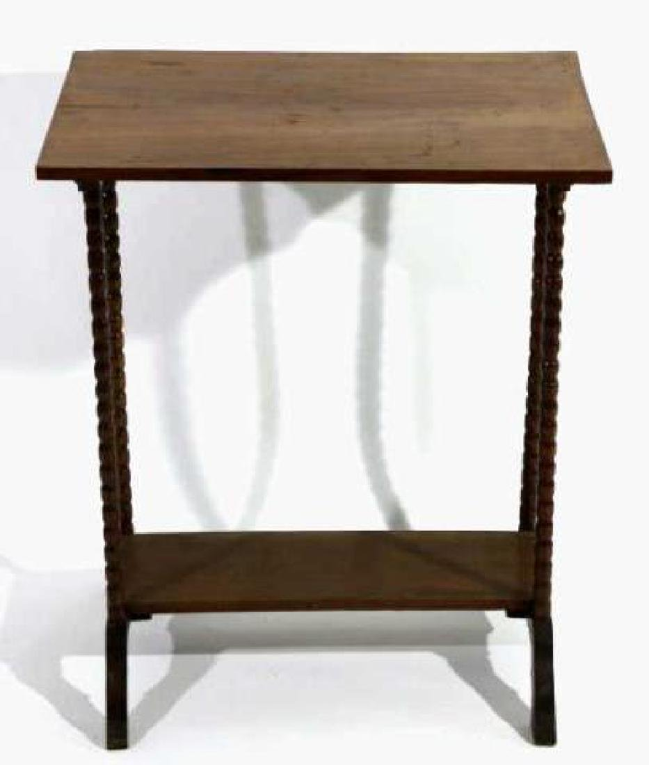 AMERICAN ANTIQUE WALNUT SPINDLE LEG TWO TIER TABLE - 3