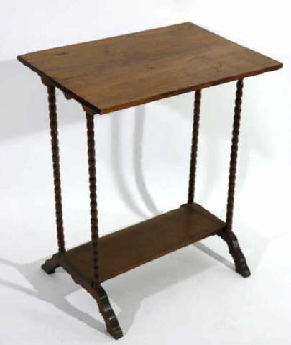 AMERICAN ANTIQUE WALNUT SPINDLE LEG TWO TIER TABLE - 4