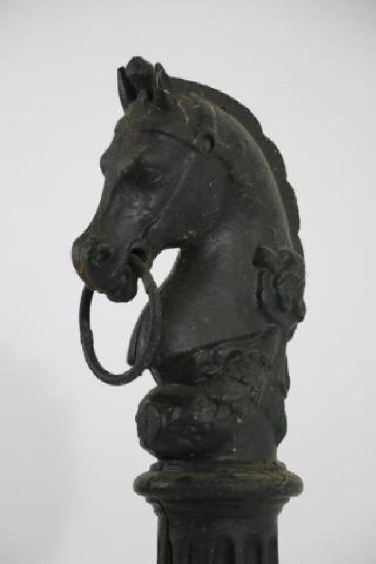 ANTIQUE CAST IRON HORSE HEAD HITCHING POST - 6
