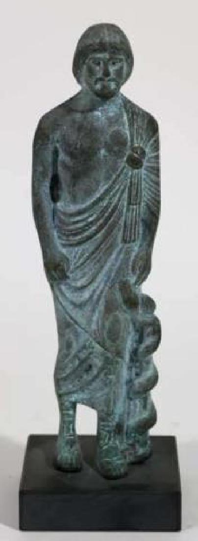 CLASSICAL GREEK MUSEUM BRONZE MALE SCULPTURE - 4