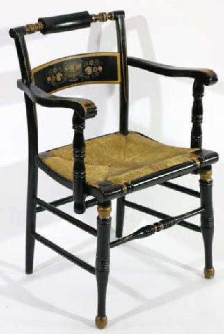 AMERICAN ANTIQUE RUSH SEAT HITCHCOCK ARMCHAIR - 2