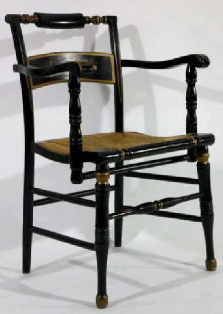 AMERICAN ANTIQUE RUSH SEAT HITCHCOCK ARMCHAIR - 3