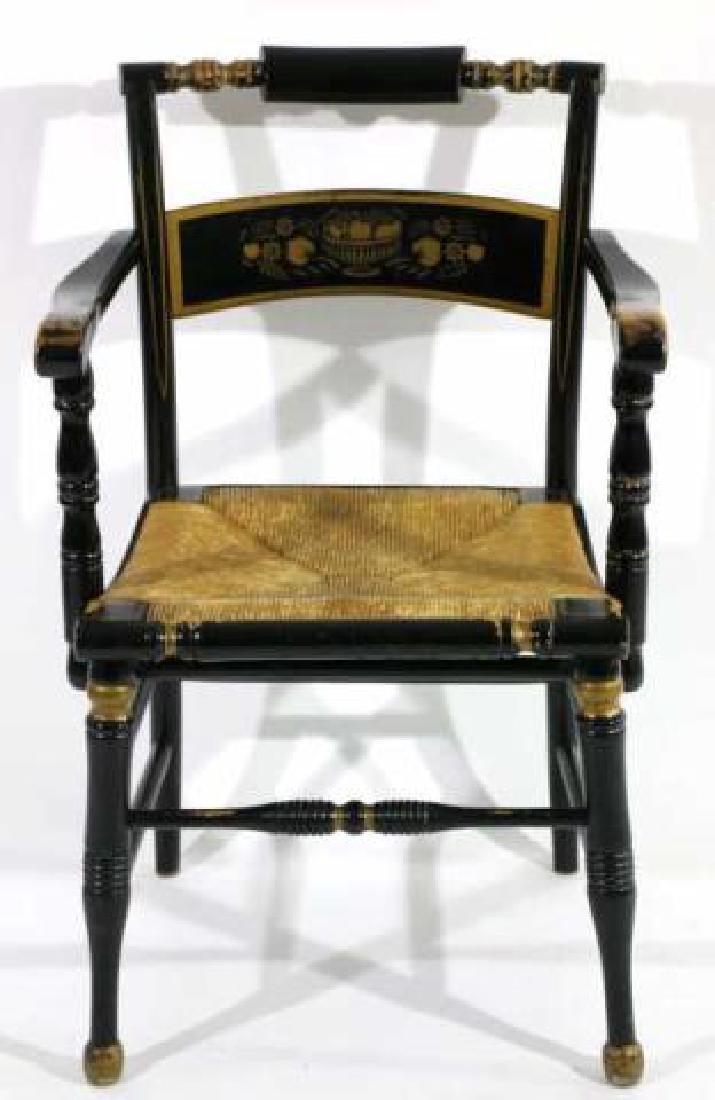 AMERICAN ANTIQUE RUSH SEAT HITCHCOCK ARMCHAIR - 4