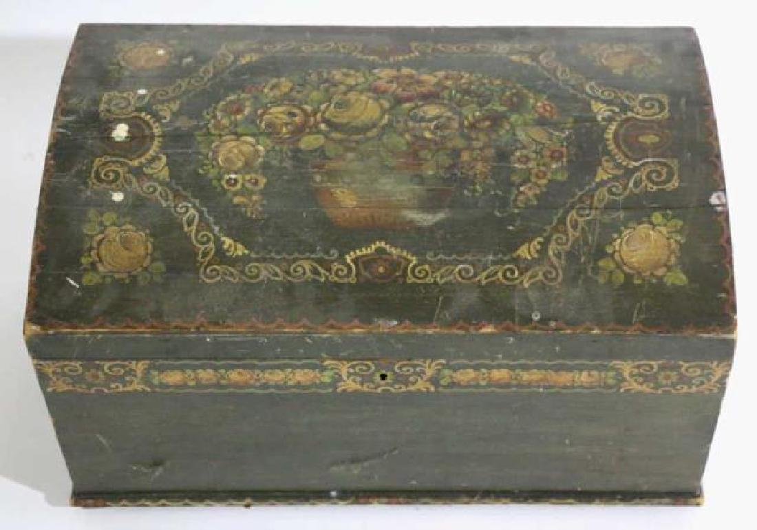 AMERCIAN ANTIQUE HAND PAINTED DOME TOP TRUNK