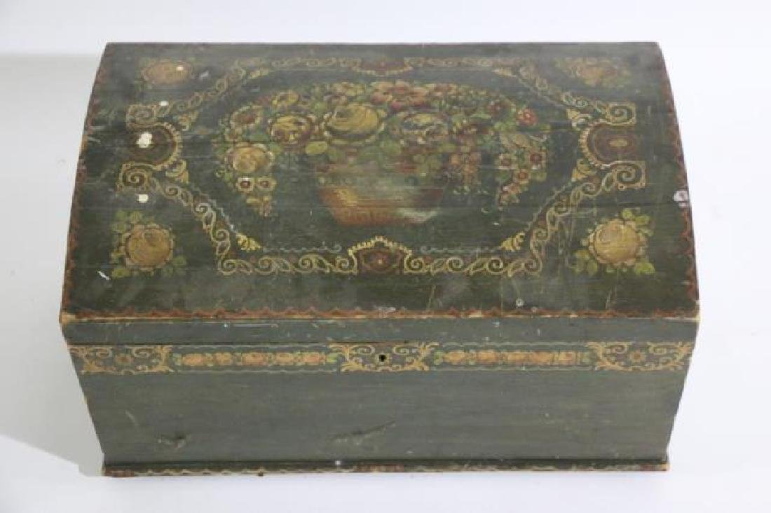 AMERCIAN ANTIQUE HAND PAINTED DOME TOP TRUNK - 5