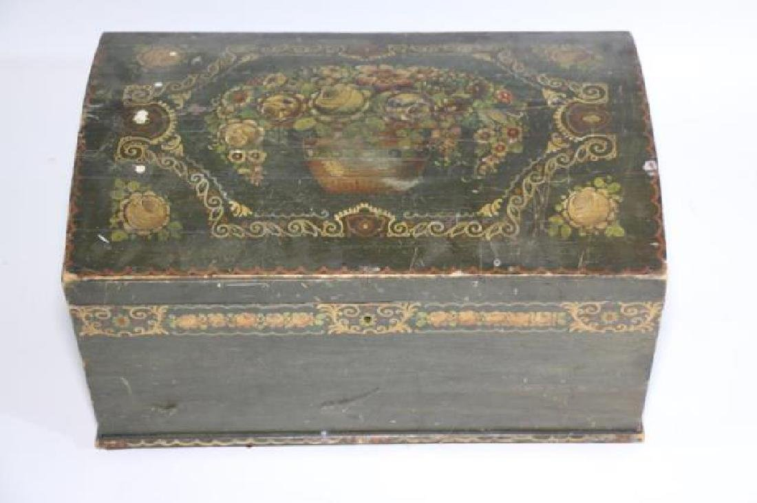 AMERCIAN ANTIQUE HAND PAINTED DOME TOP TRUNK - 7
