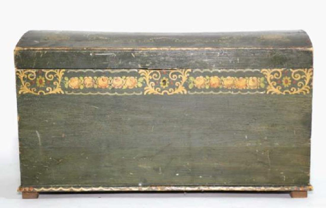 AMERCIAN ANTIQUE HAND PAINTED DOME TOP TRUNK - 8