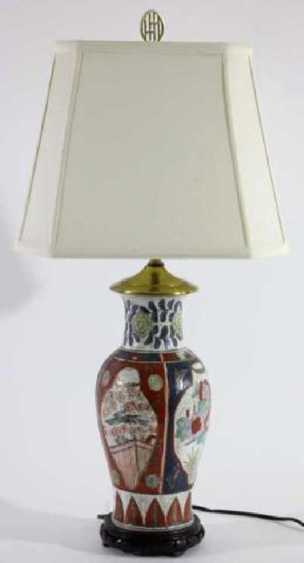 JAPANESE IMARI BALUSTER CUSTOM SHADED LAMP - 4