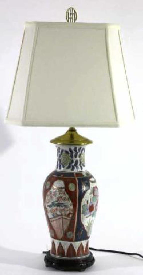 JAPANESE IMARI BALUSTER CUSTOM SHADED LAMP