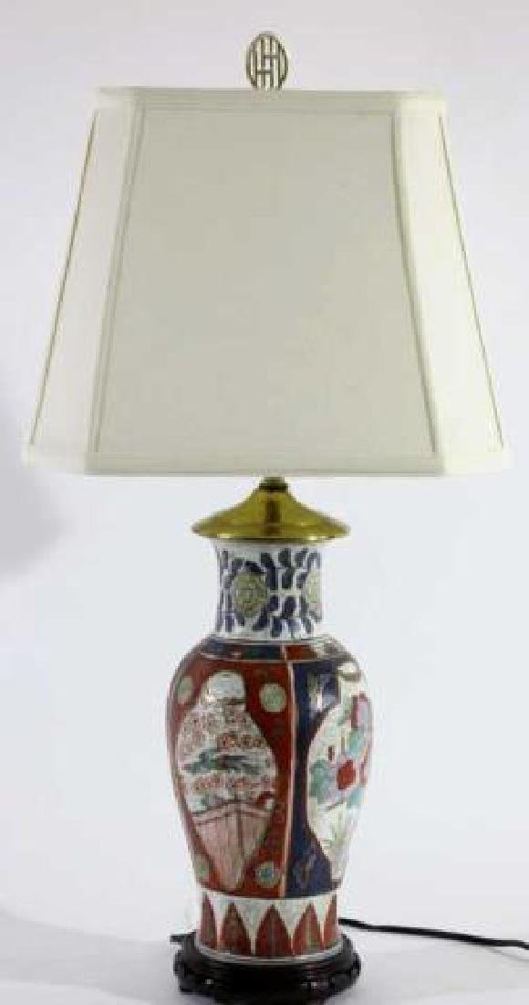 JAPANESE IMARI BALUSTER CUSTOM SHADED LAMP - 3