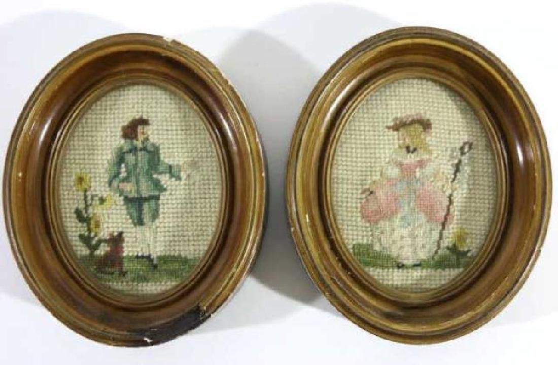 AMERICAN ANTIQUE OVAL WALNUT FRAMED NEEDLEPOINTS