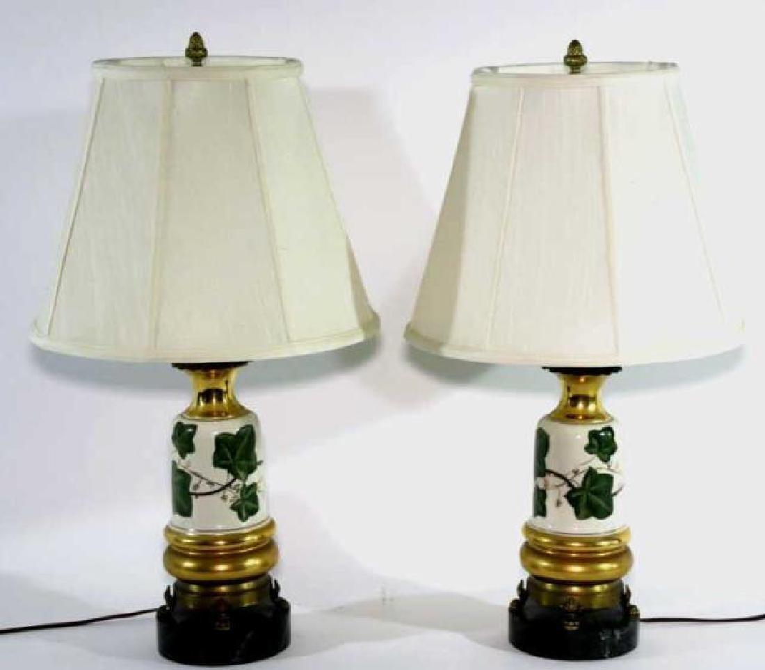 VINTAGE HAND PAINTED PORCELAIN LAMPS - 4