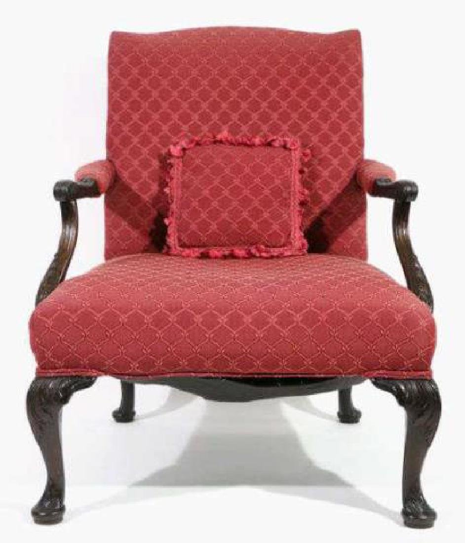 ENGLISH ANTIQUE CHIPPENDALE HAND CARVED ARMCHAIR