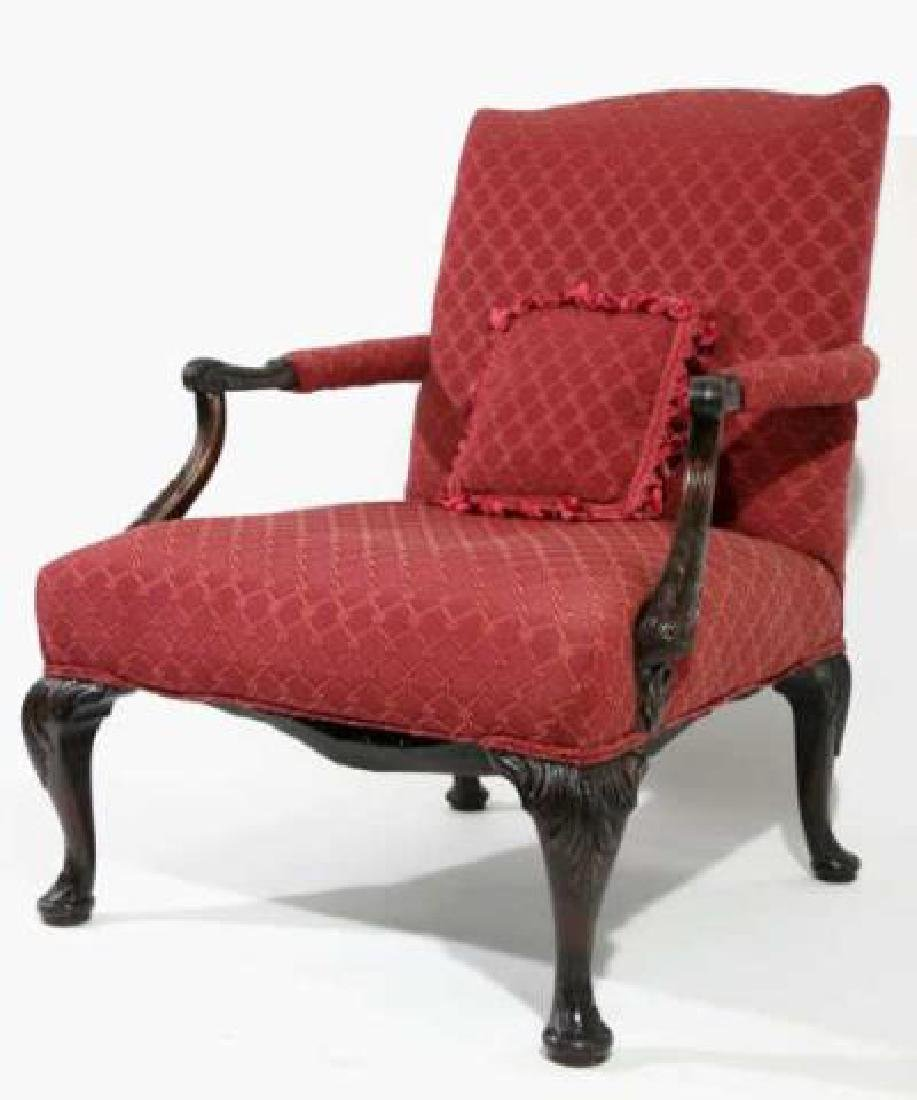 ENGLISH ANTIQUE CHIPPENDALE HAND CARVED ARMCHAIR - 2