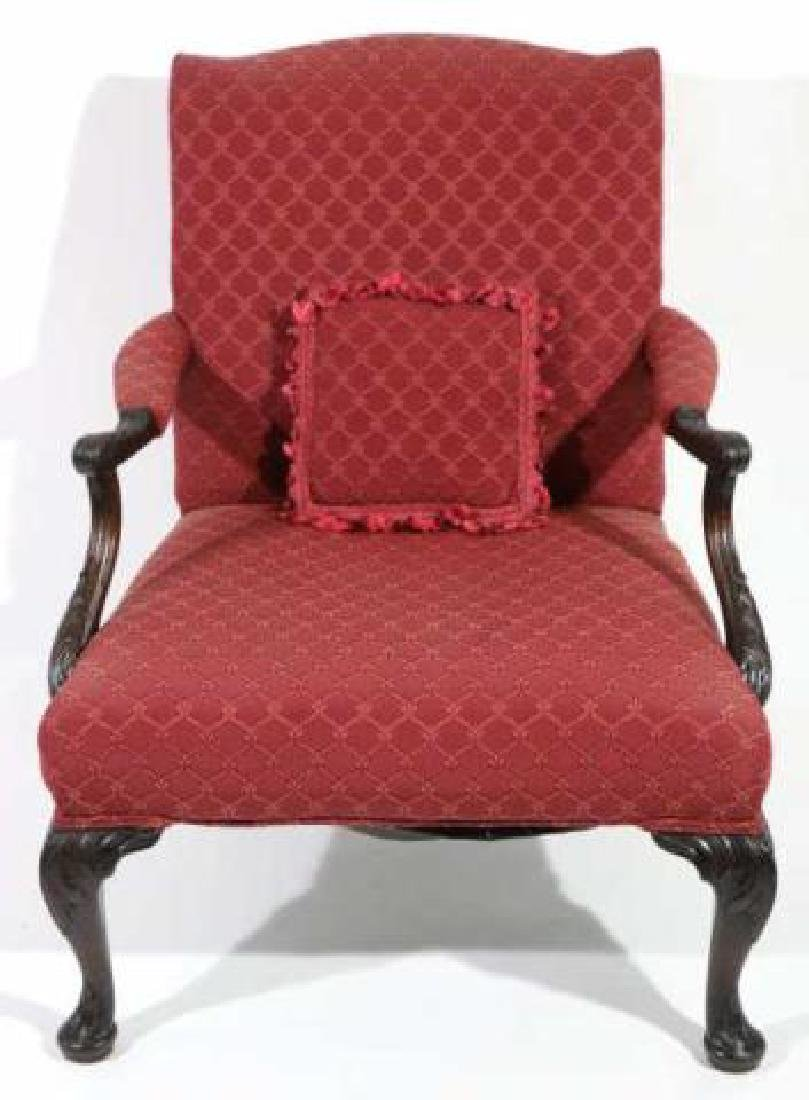 ENGLISH ANTIQUE CHIPPENDALE HAND CARVED ARMCHAIR - 5