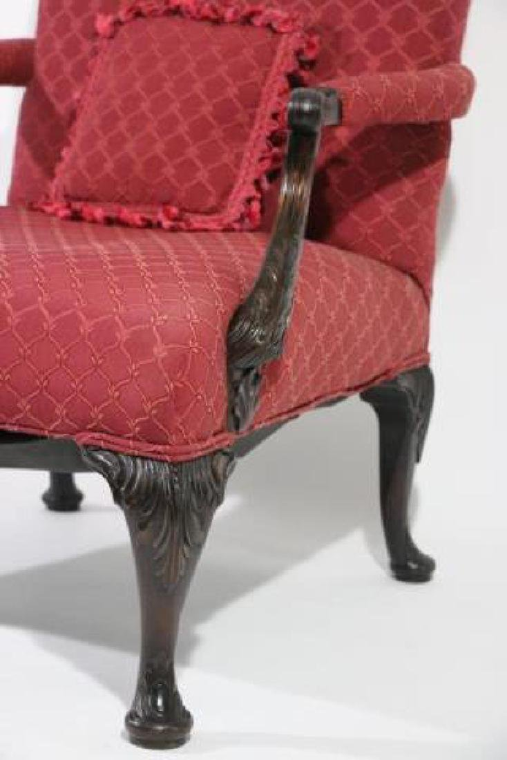 ENGLISH ANTIQUE CHIPPENDALE HAND CARVED ARMCHAIR - 6