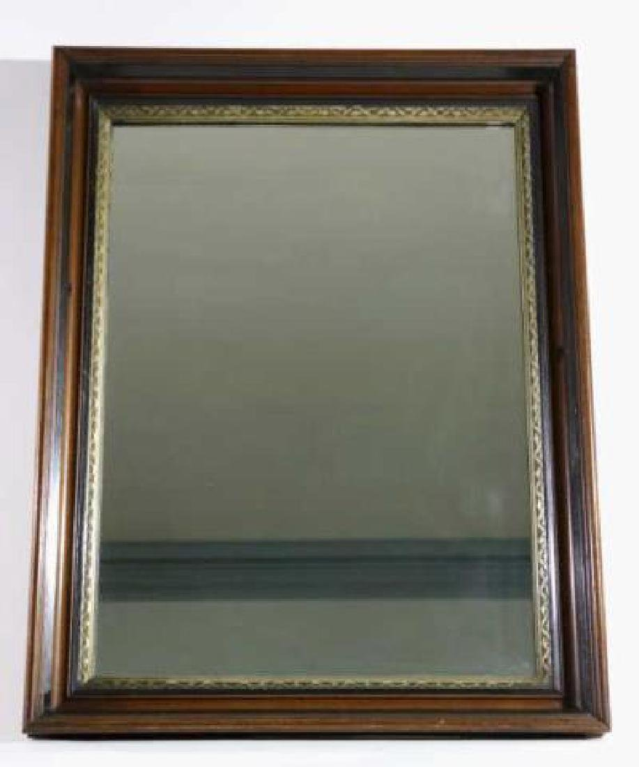 MAHOGANY & PARCEL GILT ANTIQUE MIRROR