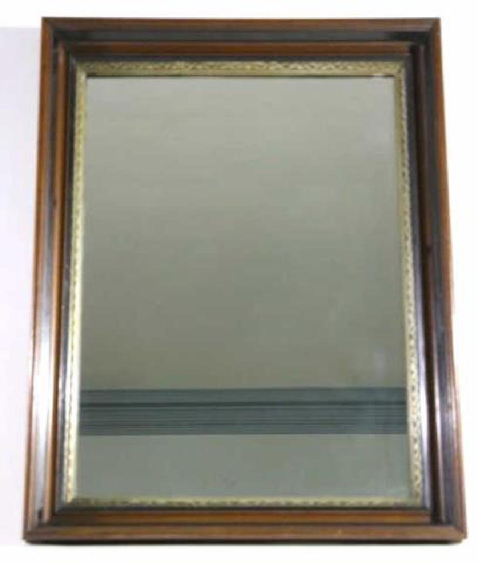 MAHOGANY & PARCEL GILT ANTIQUE MIRROR - 3
