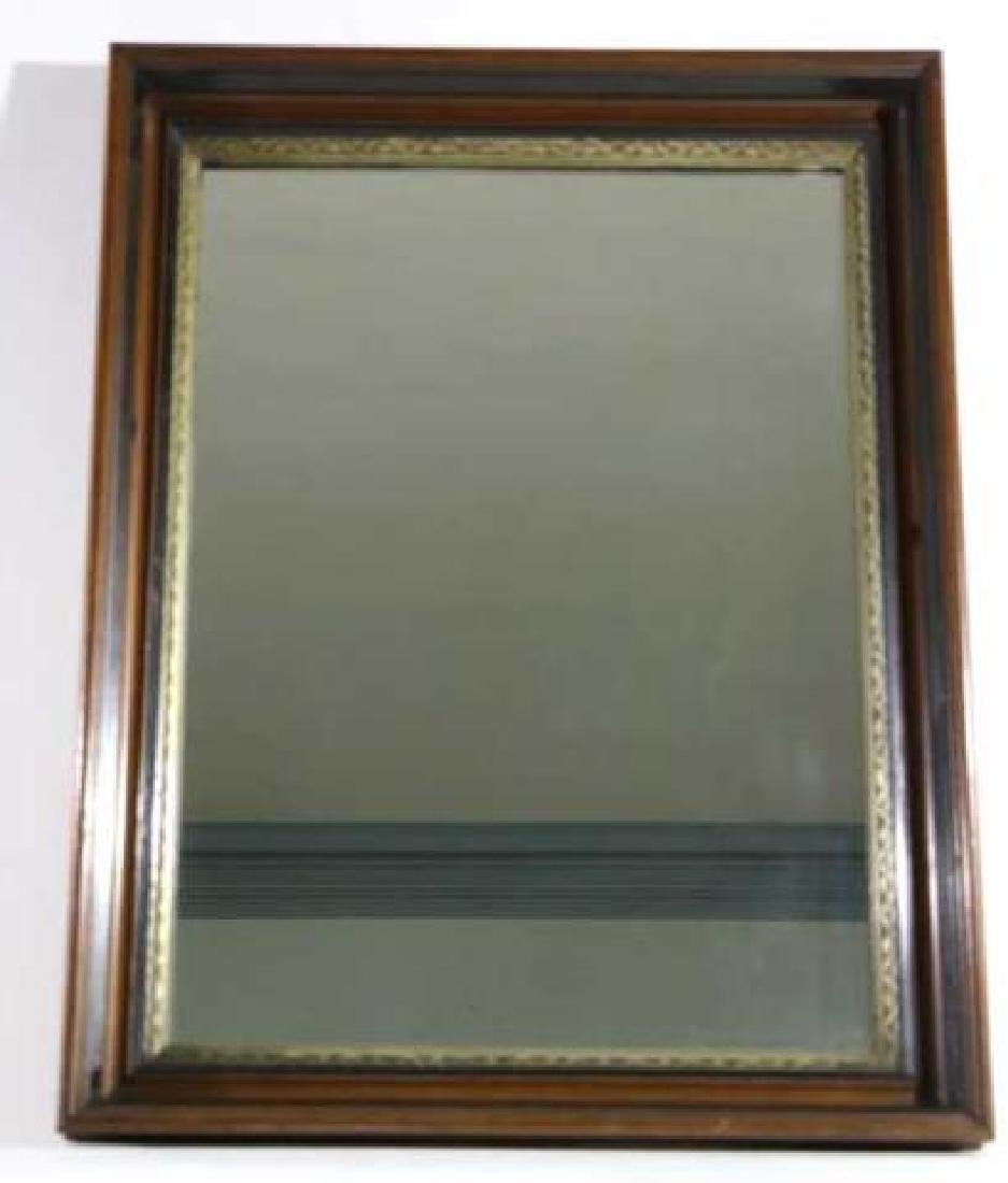 MAHOGANY & PARCEL GILT ANTIQUE MIRROR - 4