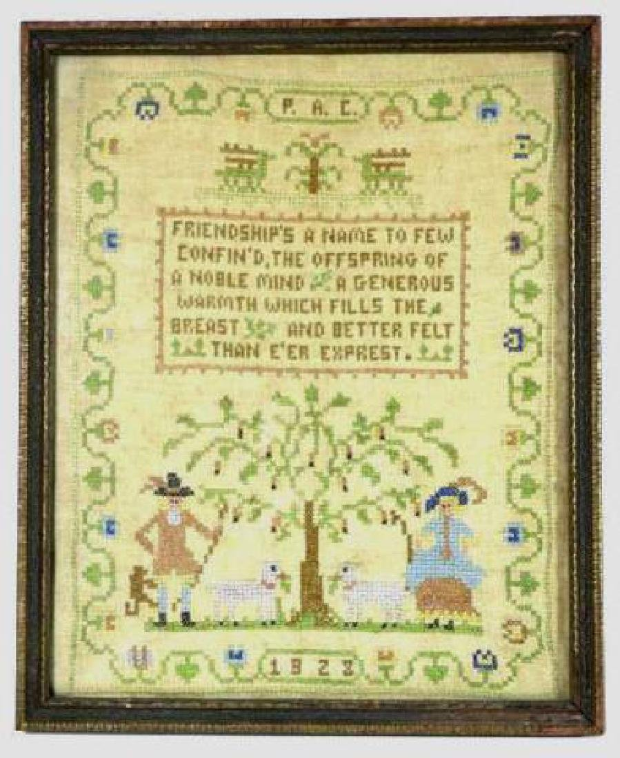AMERICAN ANTIQUE 1923 FRAMED SAMPLER