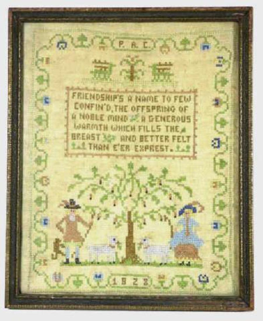 AMERICAN ANTIQUE 1923 FRAMED SAMPLER - 5