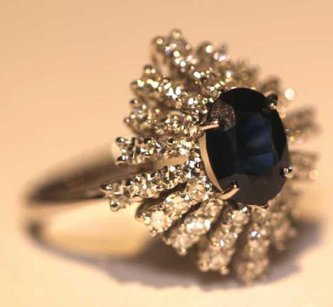 SAPPHIRE & DIAMOND 14KWG  COCKTAIL RING