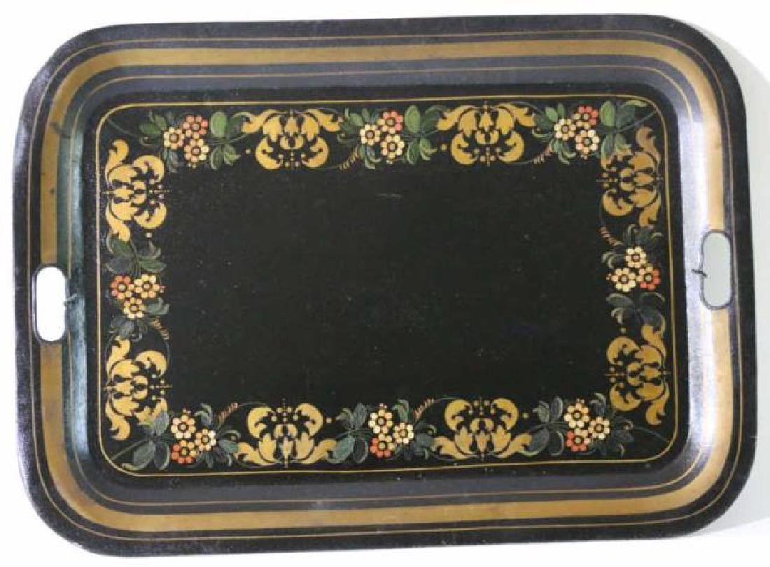 AMERCIAN ANTIQUE HAND PAINTED TOLE TRAY - 2