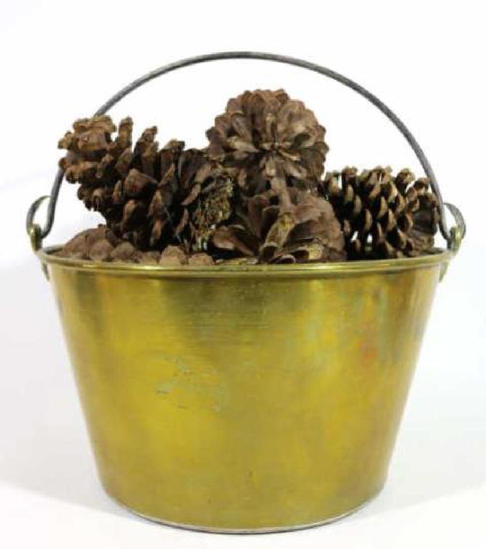 BRASS ANTIQUE RAT TAIL HANDLE PAIL WITH PINE CONES