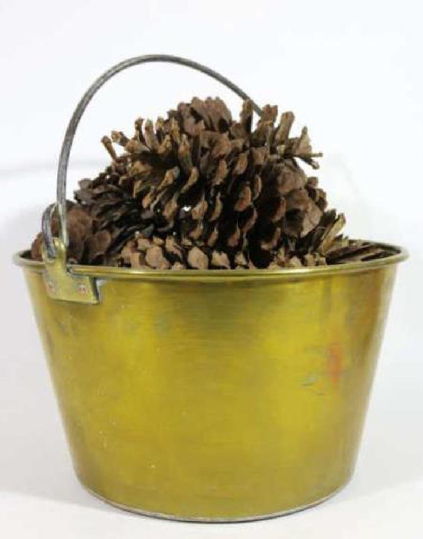 BRASS ANTIQUE RAT TAIL HANDLE PAIL WITH PINE CONES - 2