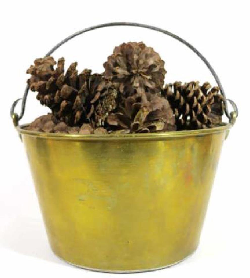 BRASS ANTIQUE RAT TAIL HANDLE PAIL WITH PINE CONES - 4