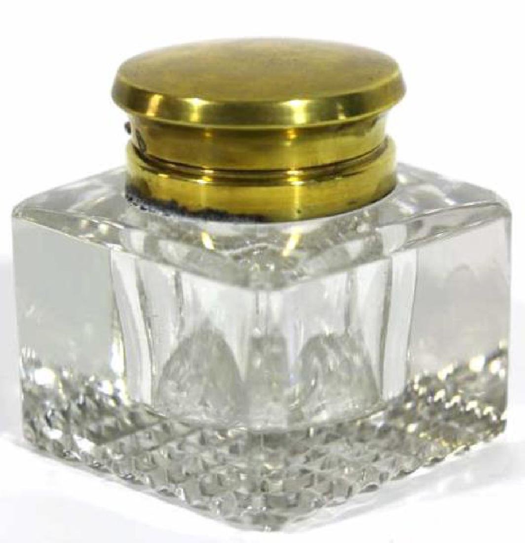ENGLISH ANTIQUE CRYSTAL INK WELL