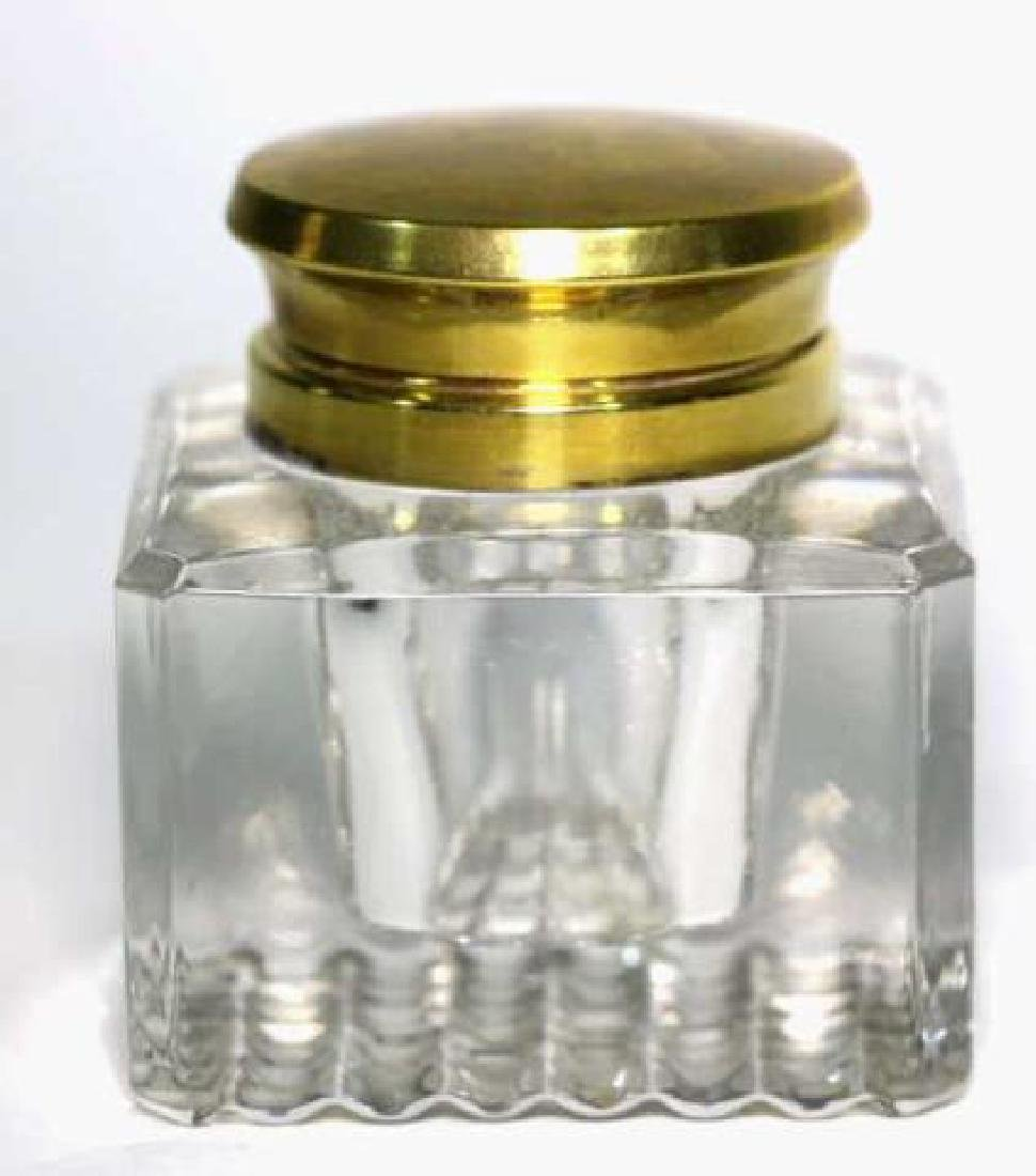 ENGLISH ANTIQUE CRYSTAL INK WELL - 2