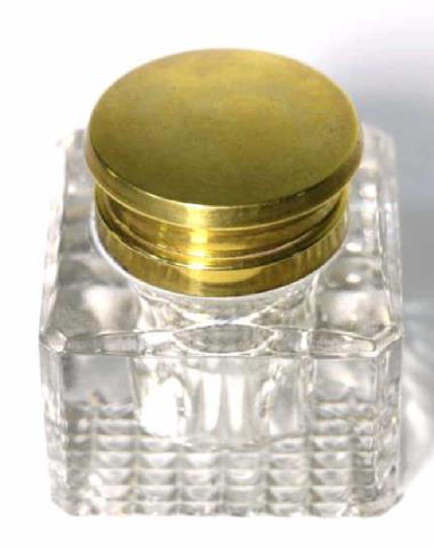ENGLISH ANTIQUE CRYSTAL INK WELL - 3