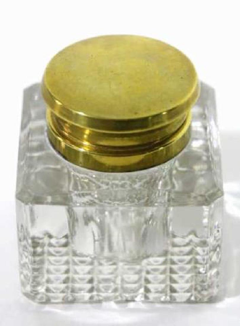 ENGLISH ANTIQUE CRYSTAL INK WELL - 4