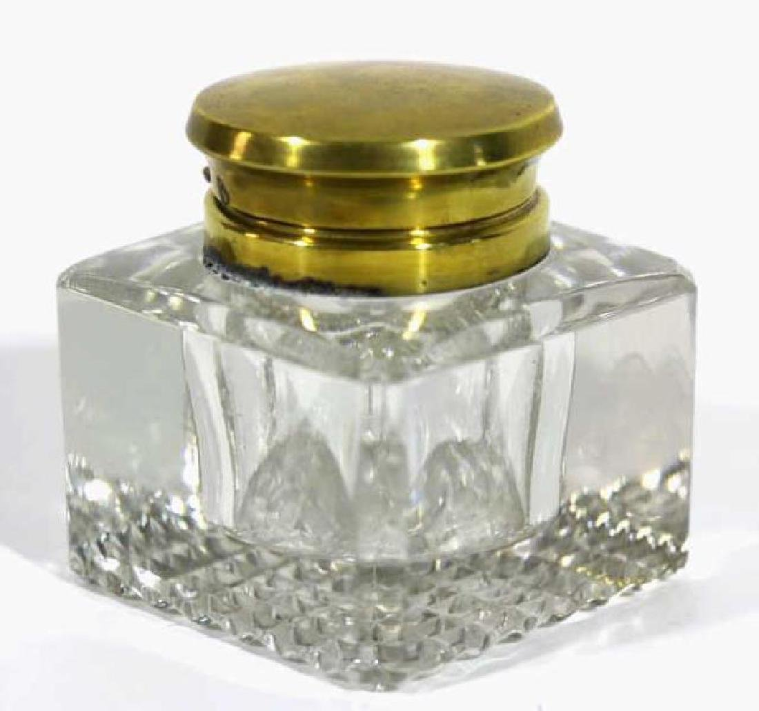 ENGLISH ANTIQUE CRYSTAL INK WELL - 5