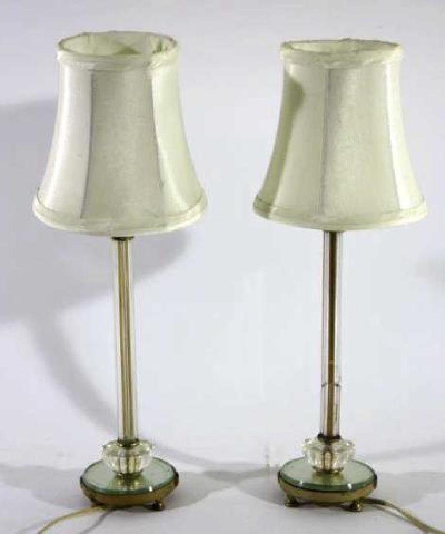 ANTIQUE CUT GLASS CUSTOM SHADEDCANDLE STICK LAMPS
