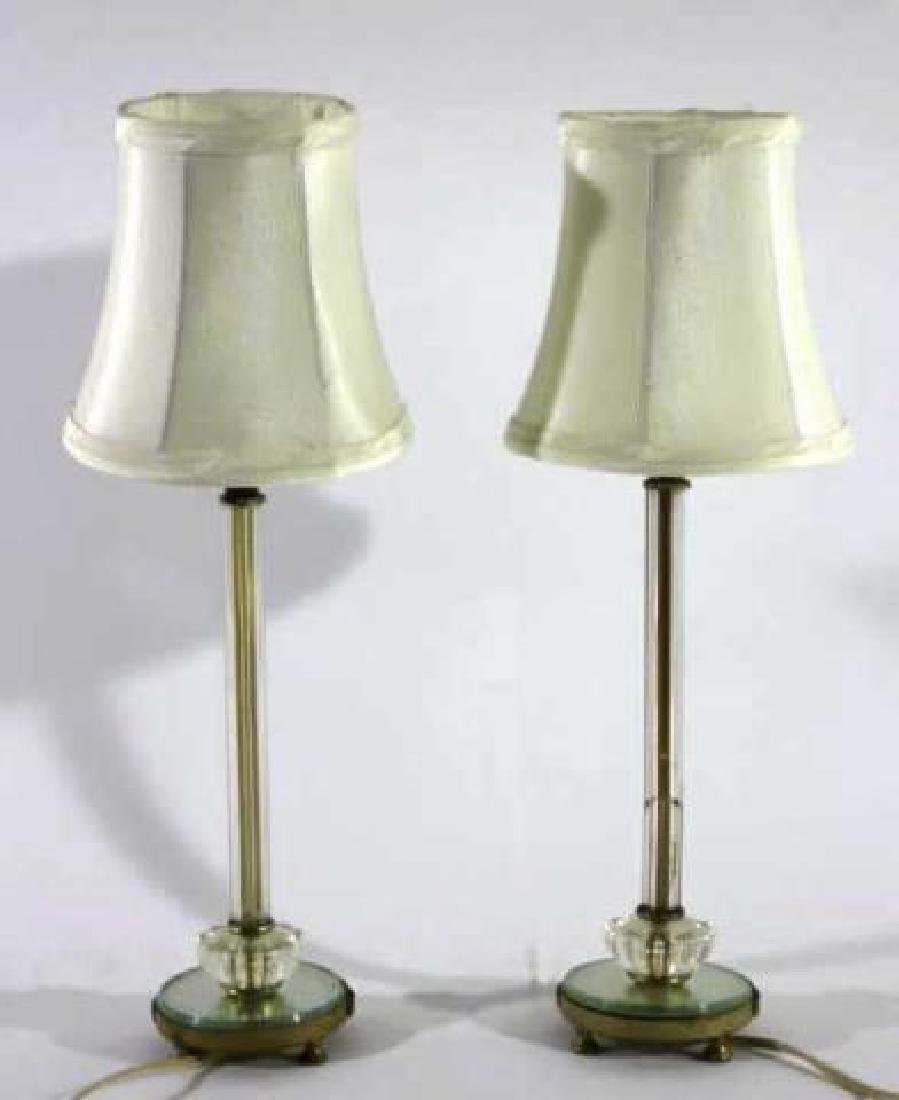 ANTIQUE CUT GLASS CUSTOM SHADEDCANDLE STICK LAMPS - 3