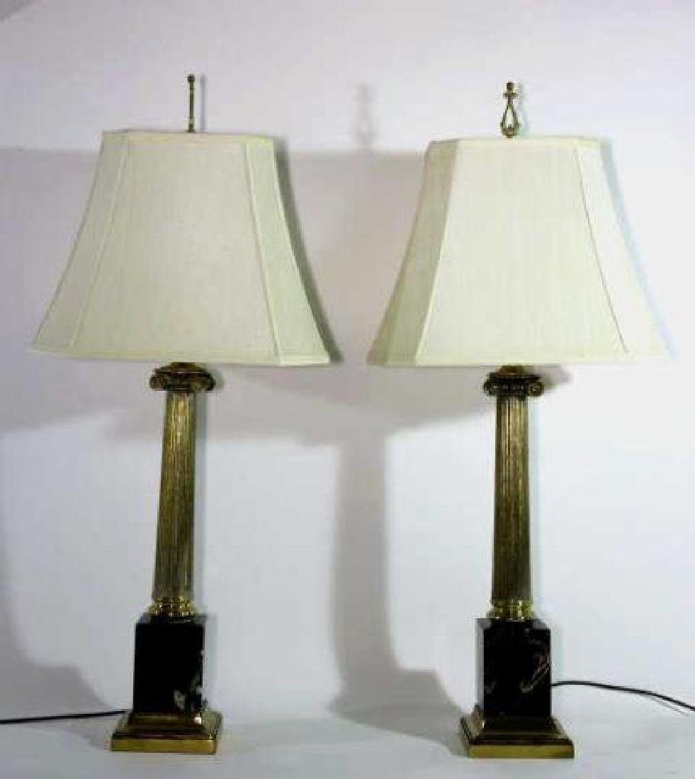 CARRERA MARBLE BASED CLASSICAL COLUMN LAMPS